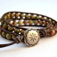 Rustic beaded wrap bracelet. Earthy double wrap beaded leather bracelet -Made to order-