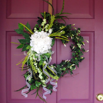 Spring wreath | Wedding Wreath | Easter wreath | hydrangea wreath | front door wreath