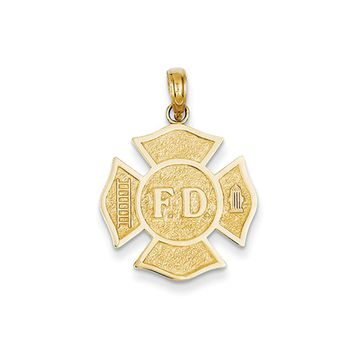 14k Yellow Gold Fire Department Medal Pendant
