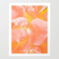 The Light Inside Flower Abstract in Peachy Pink Art Print by Jen Warmuth Art And Design