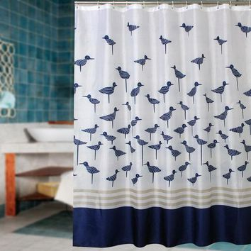 DCCKL72 Fabric polyester blue lucky birds thicken waterproof shower curtains bathroom curtains waterproof coating curtains.