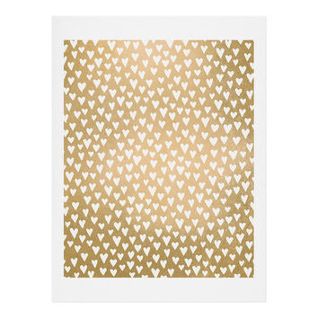 Elisabeth Fredriksson Little Hearts On Gold Art Print