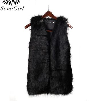 2017 Women Faux Fur Vest Women Special Slim Long Fuax Fur Coat Vest Women XXL Gilet Fourrure Rabbit Black/Red/Brown Women Vest