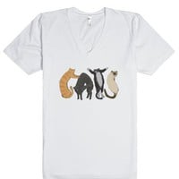 Cats in Cat letters-Unisex White T-Shirt