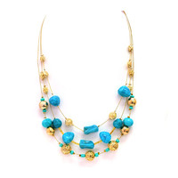 Gold & Turquoise Stone Beaded Layered Necklace