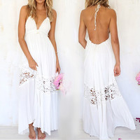 2016 Women Summer Sexy Dress Lace  Strap Deep V Neck High Waist Beach Boho Dresses Slit Backless long Maxi White Sundress H