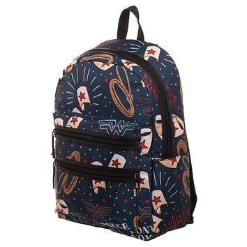 MPBP DC Wonder Woman Backpack  Double Zipper Backpack with Wonder Woman Symbols