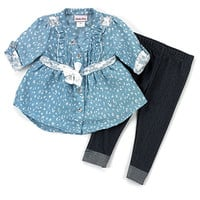 Toddler Girl Little Lass Chambray Leggings Set | Boscov's