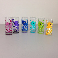 Shot Glasses Set of 6 Octopus