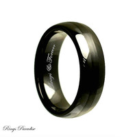 8mm Personalized Black Ceramic Rings, Weddings, Handmade Engagement, Wedding Band, Ceramic Bands, Wedding Rings, Ceramic Rings, His, Hers