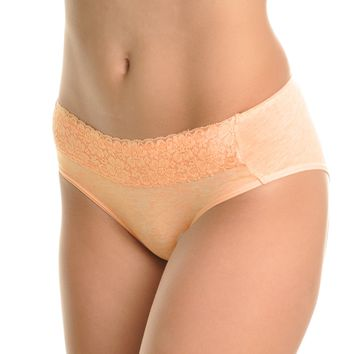 Angelina Cotton Hiphugger Panties with Lace Waist (6-Pack)