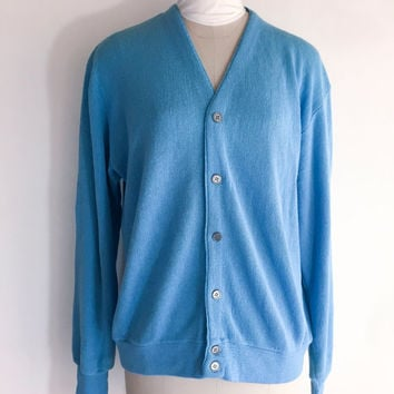 Vintage Mens Blue Cardigan Blue Sweater Blue V Neck Sweater Blue Cardigan Blue Button Down Sweater Hipster Sweater Size Large