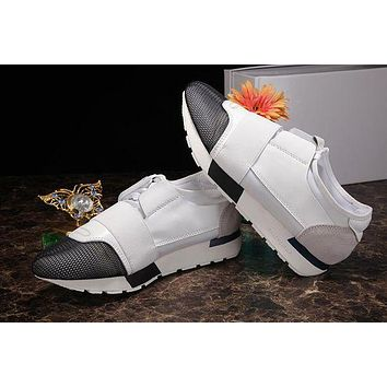 BALENCIAGA Trending Women Men Stylish Casual Shoe Sneakers White Black I/A