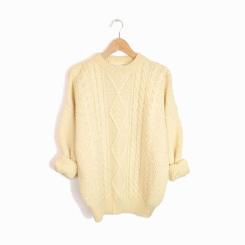 Vintage Irish Wool Fisherman Sweater Cable Knit - women's large