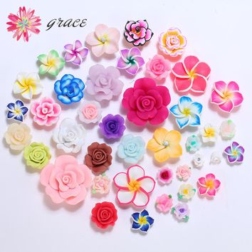 10pc/lot Mixed Assorted Colors Size Designs Fimo Polymer Clay Flower Beads For Earring Craft Jewelry Making Decoration Accessory