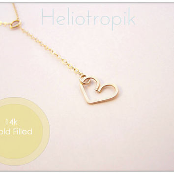 14k Gold Filled Dainty Heart Lariat - Simple, Cute, Petite Heart Charm & Chain Necklace