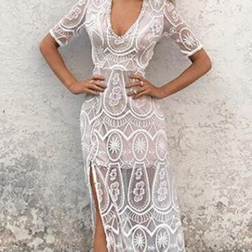 Carte Blanche White Sheer Mesh Lace Elbow Sleeve V Neck Cut Out Back Maxi Casual Dress