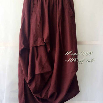 Women Summer Skirts. Asymmetrical Boho Skirt. Long Skirt Boho. Casual Loose Skirt. Elastic Large Size Skirt. Linen Skirt. Skirts for Women