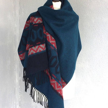Blanket Scarf, Tribal Scarf, Blue Aztec Shawl, Men's Wrap Scarf, Winter Scarf, Kilim Wool Shawl, Boho Women Scarf, Men Gift, Boyfriend Gift