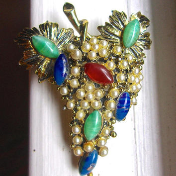 Green Blue Red Artglass HOLLYCRAFT Seed Pearl Brooch-Pin Grape Cluster Signed Vintage