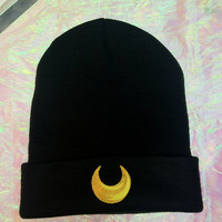 Sailor Moon Inspired Beanie // Luna Cat Beanie // Moon Child