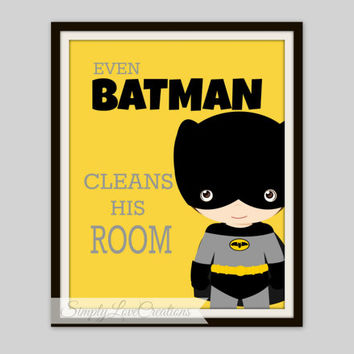 "Superhero Print  - ""Even Batman cleans his room"" - Supper Hero Playroom, Comic Book Print, Pop Art Print -Batman-Spider-man-Captain America"
