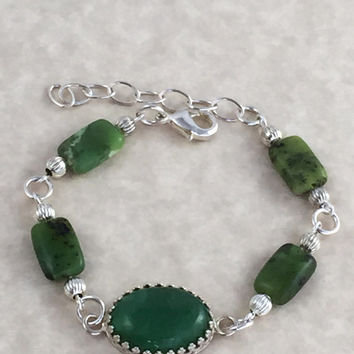 Petite Chrysoprase Cabochon Bracelet with Chrysoprase and Silver Beads