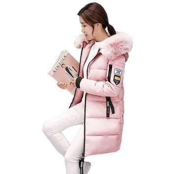 Women Winter Parka Female Faux Fur Hooded Coats Girls Military Pink Outwear Parka Clothes Ladies Korean Slim Puffer Jackets