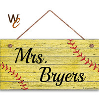 """Teacher Sign, Softball Personalized Sign, Teacher's Name, Classroom or P.E. Door Sign, Gift For Teacher, 5"""" x 10"""" Sign, Made To Order"""