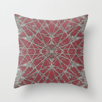 Snowflake Red Throw Pillow by Project M