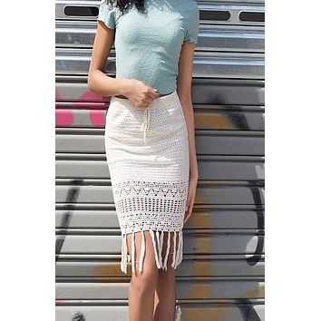 Henna Off-White Crochet Skirt