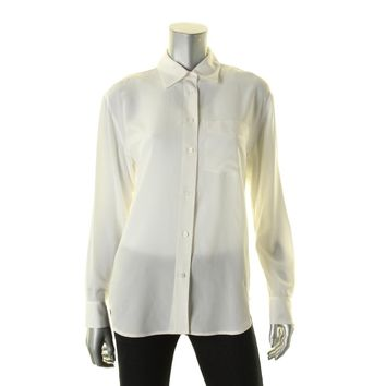 Lauren Ralph Lauren Womens Silk Sheer Button-Down Top