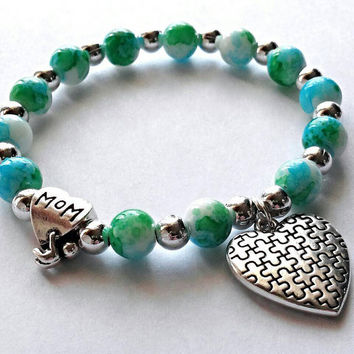 Autism stretch bracelet, autism awareness jewelry, puzzle piece jewelry, blue and green beaded bracelet, autism mom, autism gifts.