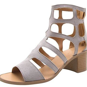 Cambridge Select Womens Geometric Cutout Caged Open Toe Gladiator Chunky Block Heel Ankle Bootie