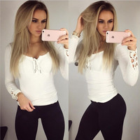 White V-Neck Laced Long Sleeve T-Shirt