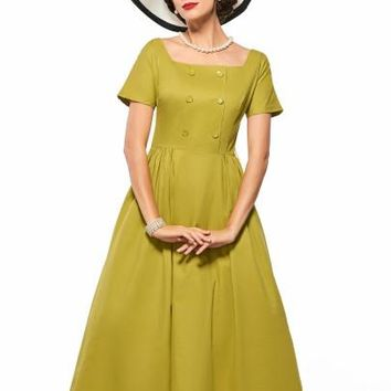 Double-Breasted Plain Short Sleeve Women's Day Dress