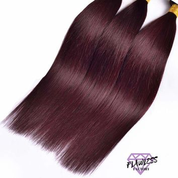 3 Bundles of Burgundy Brazilian Silky Straight Hair Extensions