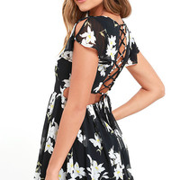 La Brea Black Floral Print Backless Lace-Up Dress