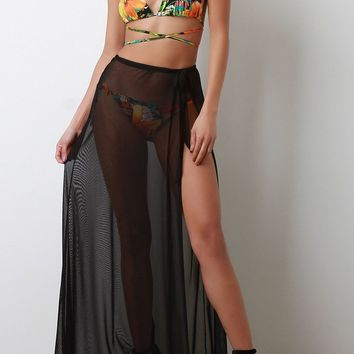 High Slit Mesh Maxi Skirt Cover-Up