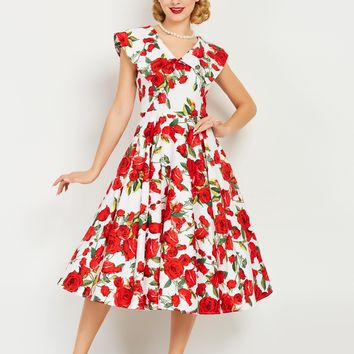 Chicloth Red Rose Print Sailor Collar A-Line Vintage Dress