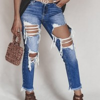 Strut Away Mid Rise Distressed Boyfriend Jeans