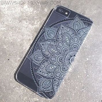 Plastic Case Cover for iPhone 5 5S 5C 6 6Plus (Pick One) Black Henna Lotus Mandala tribal rose tribal ethnic american indian