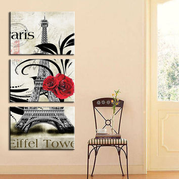 New oil style Painted Wall Painting pictures Paris Eiffel Tower