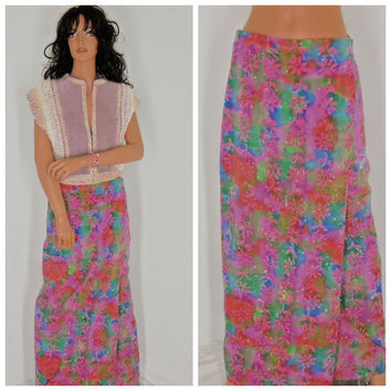 70's hippie skirt, size 6 / 8, retro, tie dyed wrap maxi skirt, boho, retro