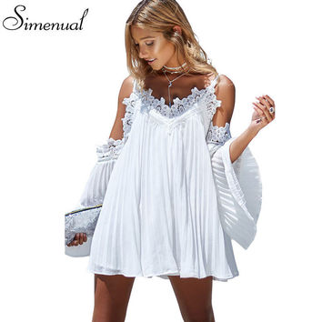 Boho off shoulder lace splice summer beach dress ladies  flare sleeve sexy short dresses women casual slim dress beachwear