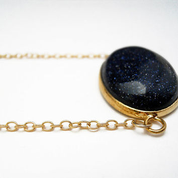 Statement Blue Goldstone Necklace Bezel Gemstone by toccajewelry
