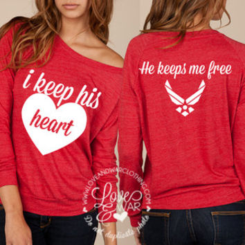 I keep his heart he keeps me free slouchy long sleeve top [AVAILABLE for ALL BRANCHES]