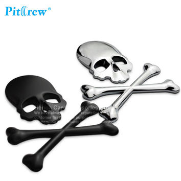 Car Motorcycle Sticker 3D 3M Skull Metal Skeleton Crossbones Label Skull Emblem Badge car styling Stickers Accessories