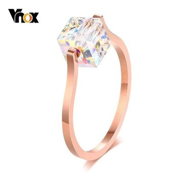 Vnox Bling CZ Rings for Women 585 Rose Gold Color Engagement anel feminino Gifts for Her Cute Sugar Cube Shape Ring
