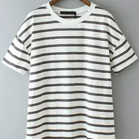Black and White Short Sleeve Striped T-Shirt